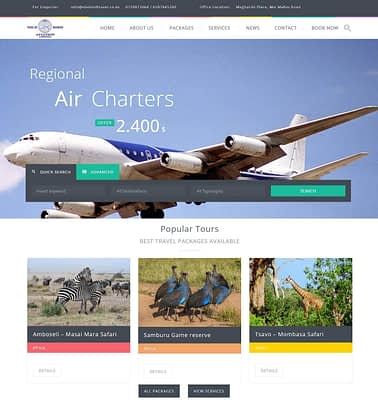 Tours and travel website design nairobi web developers in kenya